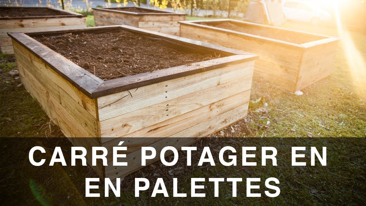 Plan D Etabli Bois pallet wood raised planter beds / carré potager en pallet