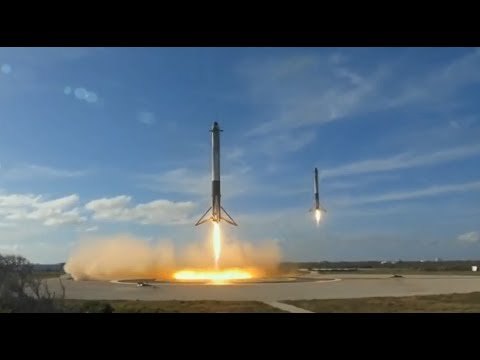Falcon Heavy Side Boosters Landing At The Same Time