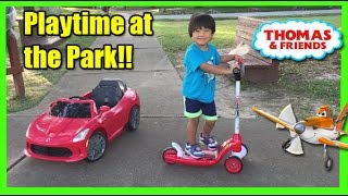 Playtime at the Park Thomas and Friends Disney Planes Dusty kids Video Ryan ToysReview