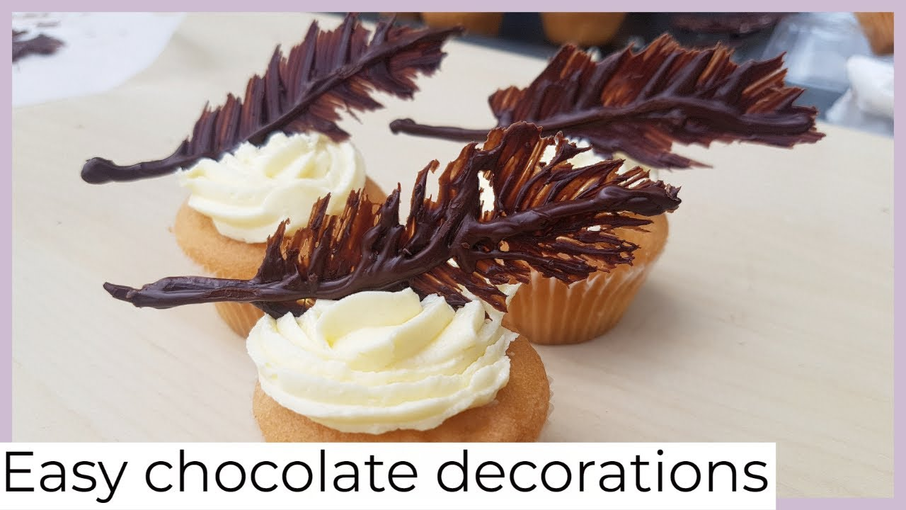 Easy cake decorations at home - chocolate feathers ...