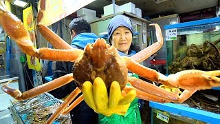 Korean Street Food - GIANT SNOW CRAB + Seafood FEAST at Seoul's BEST Fish Market | SEAFOOD in Korea