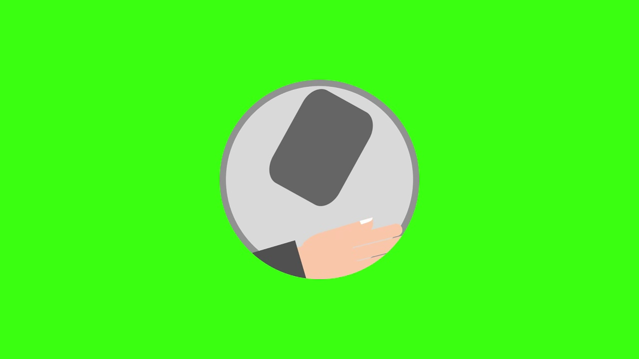 Animated Gesture tablet Icon Green Screen