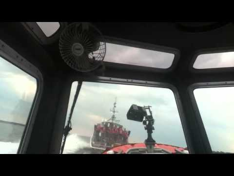 Inside a U.S Coast Guard Small Response Boat