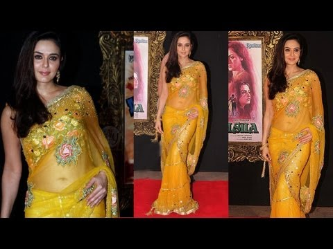Most Beautiful Preity Zinta in Yellow Transparent Saree
