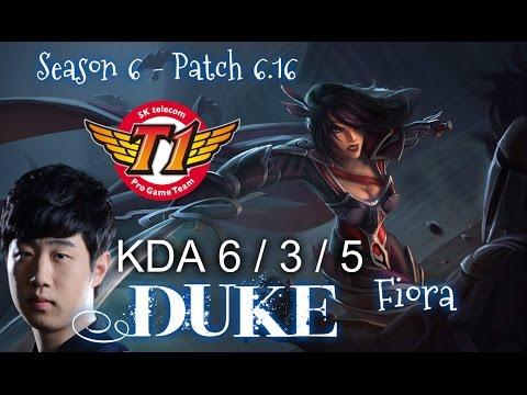 SKT T1 Duke FIORA vs NASUS TOP - Patch 6.16 KR Ranked | League of Legends