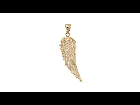 cff59d361 Michael Anthony 10K Yellow Gold Angel Wing Pendant - YouTube