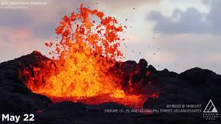 Lava continues to flow as more than 20 fissures have opened from Ha...