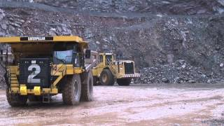 Walters Plant Hire at Bardon Quarry featuring large wheel loaders and Off highway trucks