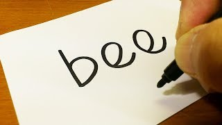 Very Easy ! How to turn words BEE into a Cartoon for kids - How to draw doodle art on paper