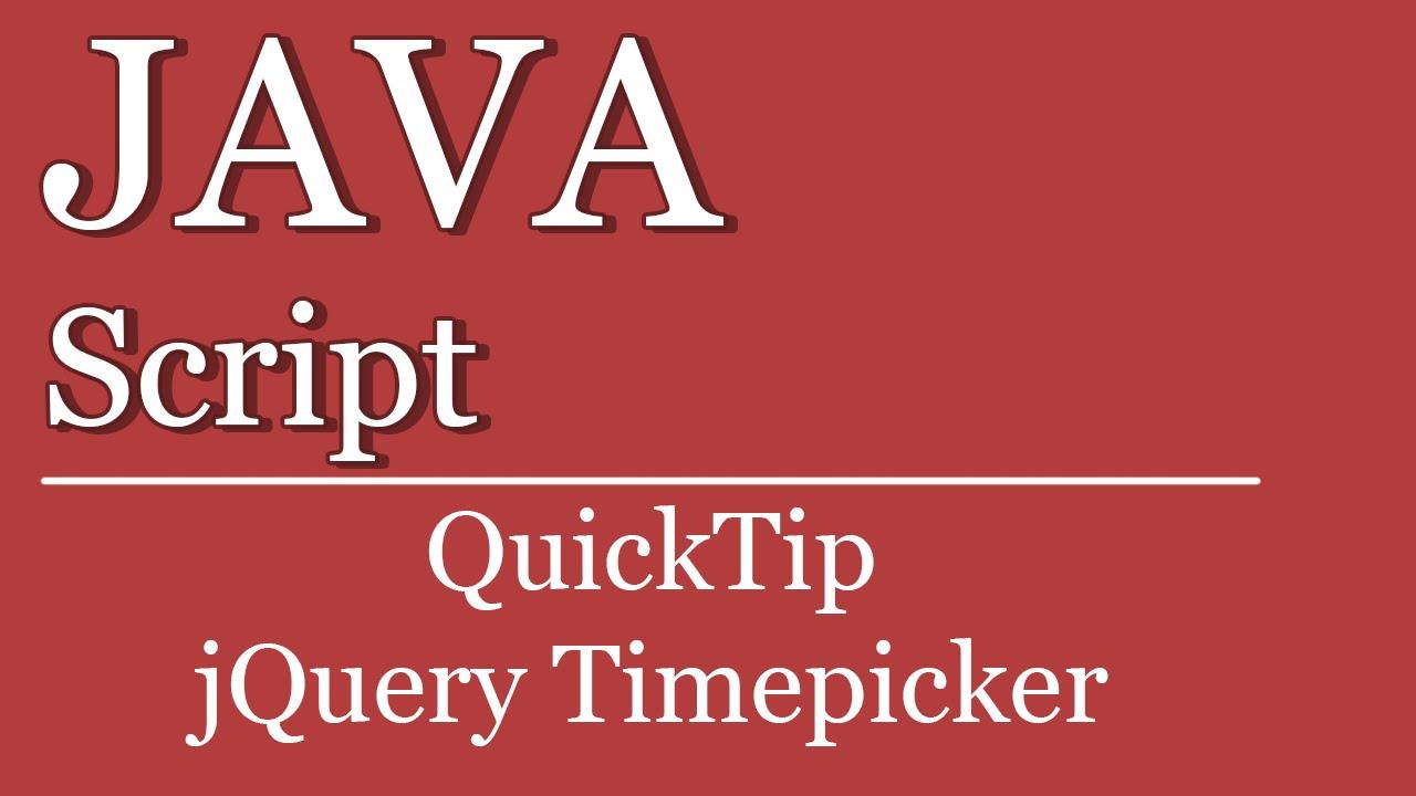 Quicktip #08 - jQuery Timepicker   JavaScript Tutorials Visual Studio    ASP NET