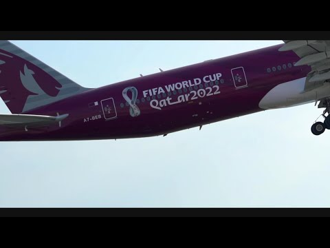 FIFA World CupTM trophy with our FIFA world Cup Qatar 2022TM livery | Qatar Airways