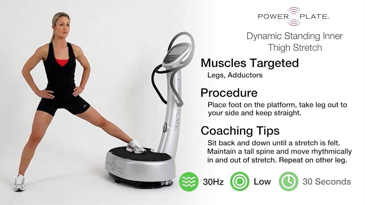 Power Plate: Standing Inner Thigh Stretch - YouTube