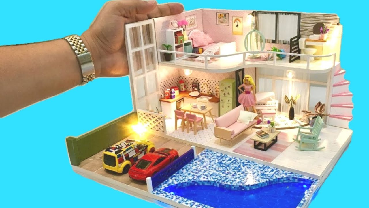 6 DIY BARBIE DOLLHOUSE ROOMS DECOR with BEDROOM, SWIMMING ...