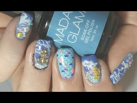 Beach Vacation Nails! - Nail Stamping, Gel, and Studs