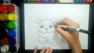 How to draw a bull terrier/dog【Ginger