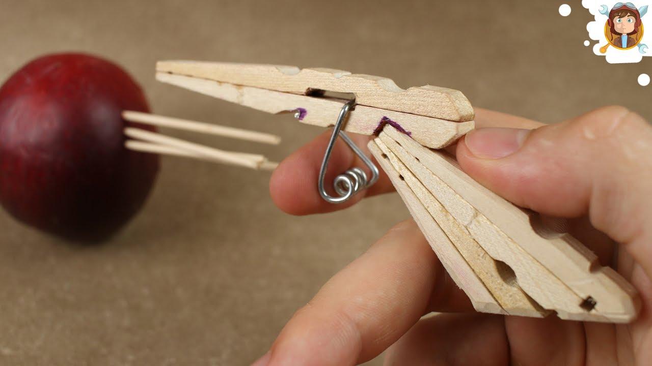 Mini Matchstick Gun Clothespin Pistol Youtube
