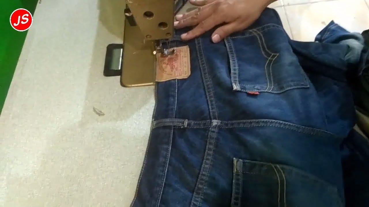 Cara Mengecilkan Pinggang Celana Jeans Permak Levis Youtube