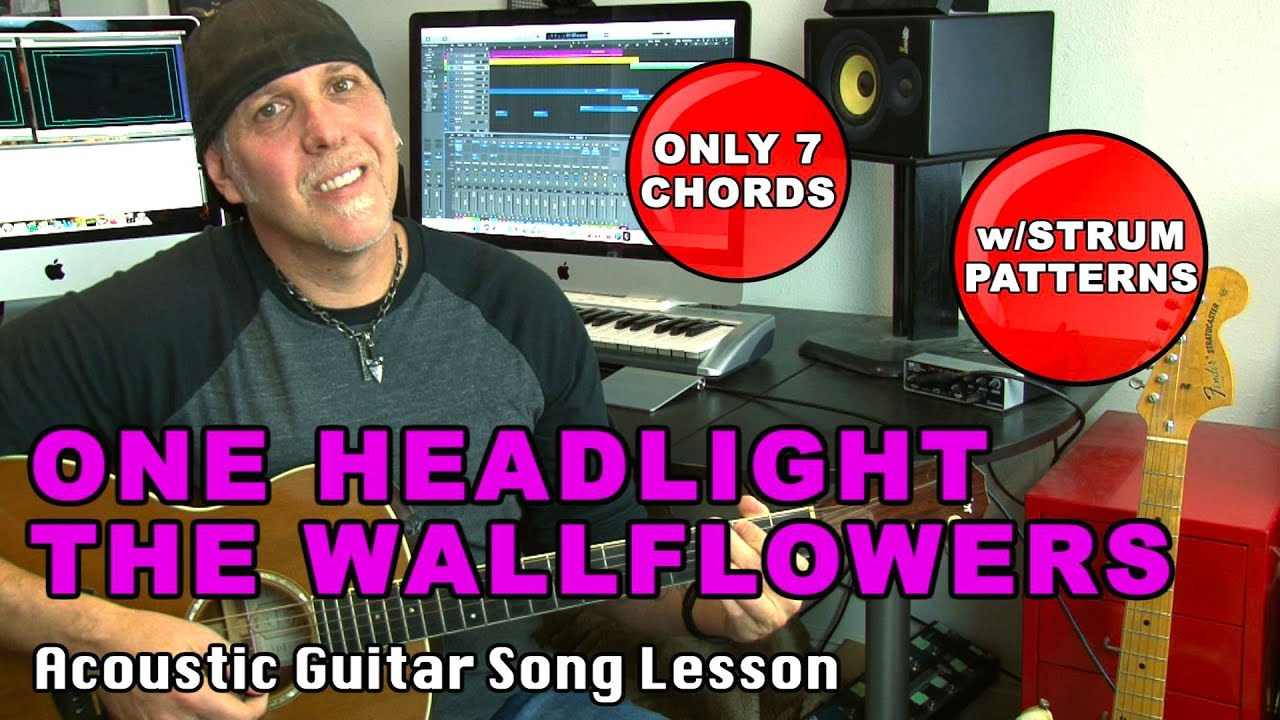 Wallflowers One Headlight guitar song lesson with strumming patterns