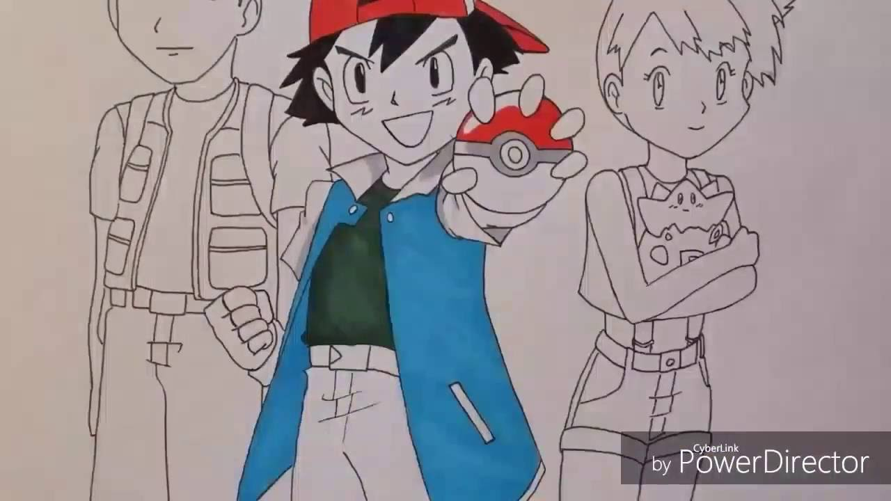 Drawing Ash Misty And Brock From Pokemon Youtube