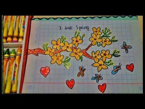 [tập vẽ] cách vẽ hoa mai và bươm bướm. (baby drawing apricot and butterfly)