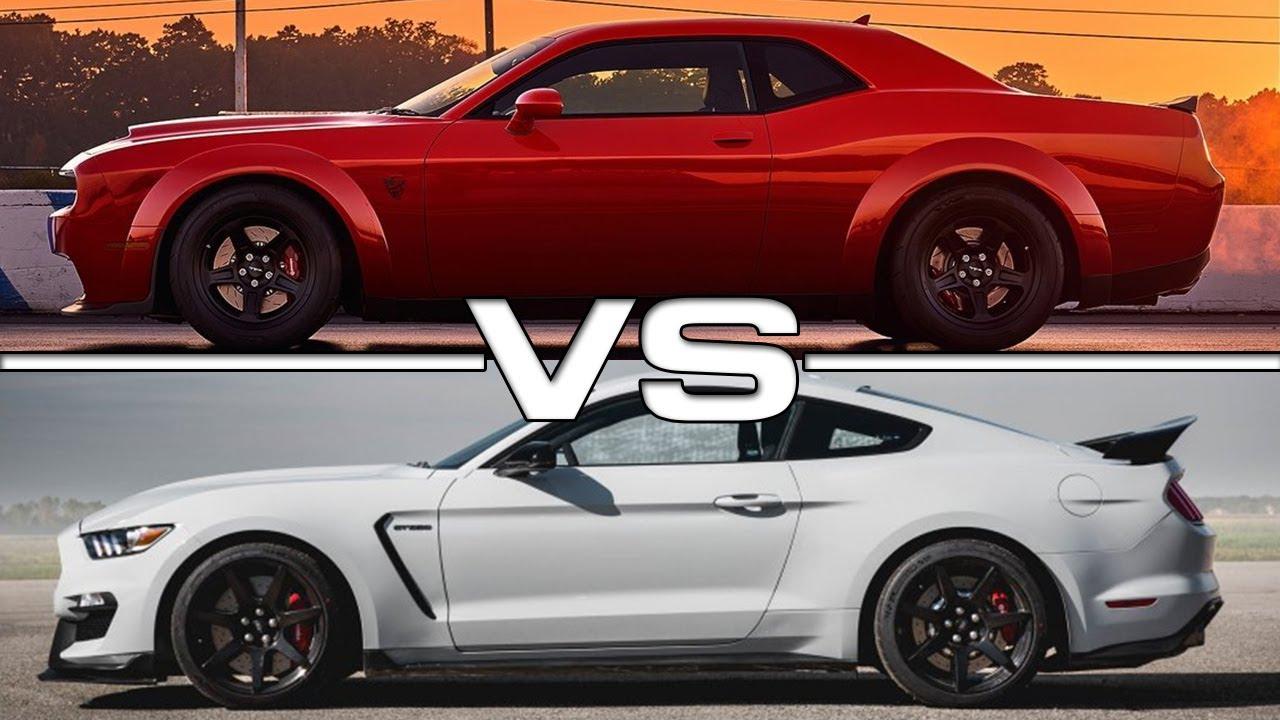 Dodge Charger Vs Challenger >> 2018 Dodge Challenger SRT Demon vs 2017 Ford Mustang Shelby GT350R - YouTube