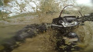 GoPro: Motorcyclist Attempts To Cross A Flash Flood