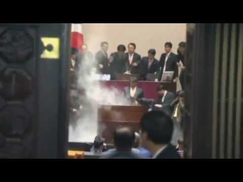 Mp Launches Tear Gas Attack In South Korea Parliament Over Us Trade Deal