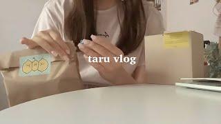 大学生の日常vlog・美味しいマンゴーの季節・はじめましてのエムエムちゃん・可愛いシールで包装する