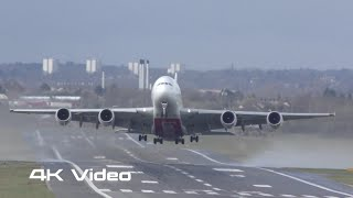 A380 Airbus Emirates airlines impressive crosswind takeoff departure 4K video