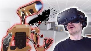 DARTS DESTROY EVIL ROBOT ARMY! - Budget Cuts VR Gameplay - VR robot stealth game