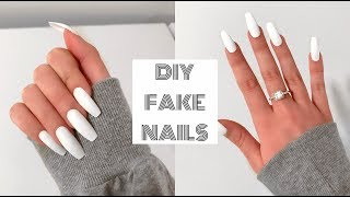 HOW TO DO FAKE NAILS AT HOME FOR BEGINNERS! | Acrylic Nails Under $30! thumbnail