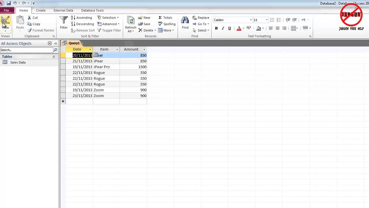 Microsoft access how to use make table query youtube for Table design ms access