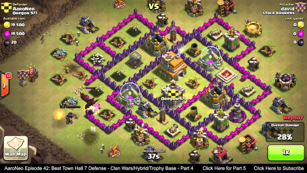 Best Town Hall Level 7 Th7 Defense Strategy Clan Wars Hybrid Trophy Base Clash Of Clans Part 4 Youtube