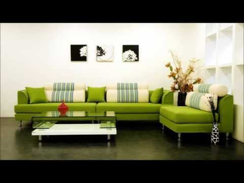 Living Room Interior In Modern Style With Green Sofa