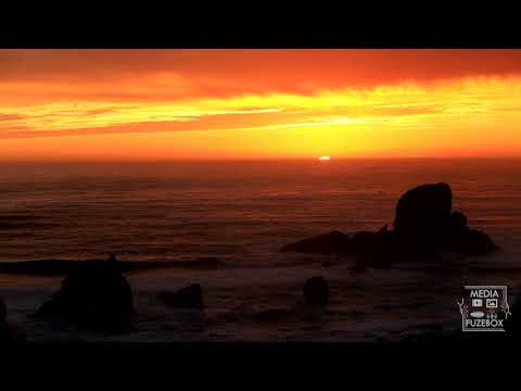 Sunset over the Pacific Ocean from Ecola Point State Park