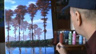 как рисовать тополя осенью с помощью акриловых на холсте живопись  урок  искусство  класс