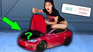 WORLD'S SMALLEST TINY 24 HOUR CHALLENGE in MINI TESLA & FOUND ABANDONED MYSTERY BOX (you decide)