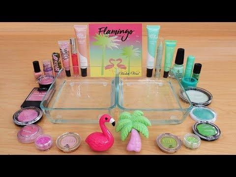 Pink vs Green - Mixing Makeup Eyeshadow Into Slime ASMR 248 Satisfying Slime Video thumbnail
