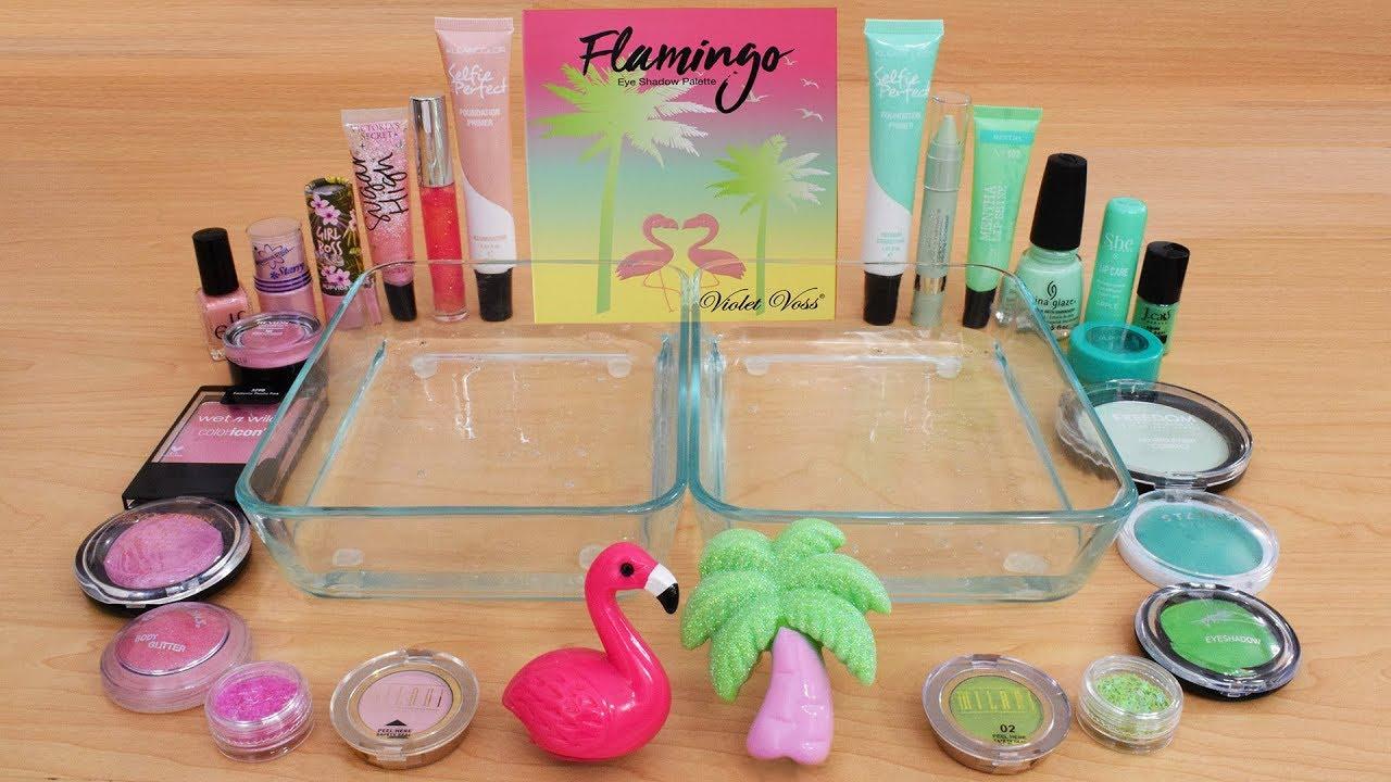 Pink vs Green - Mixing Makeup Eyeshadow Into Slime ASMR 248 Satisfying Slime Video