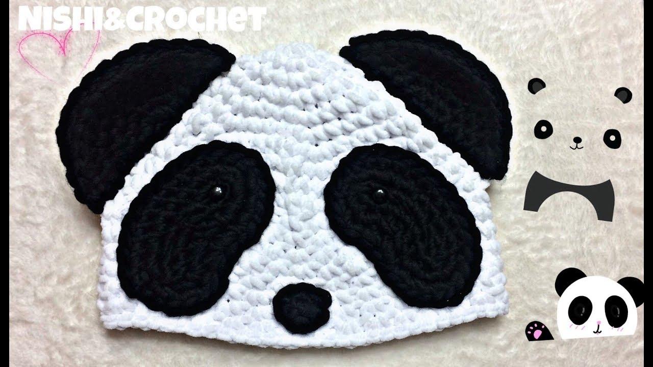Gorro de Panda a crochet - YouTube 7e5de034503