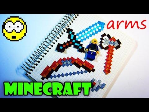 ПОПУЛЯРНОЕ ОРУЖИЕ ИЗ МАЙНКРАФТ / Рисуем по клеточкам меч / топор / лук из Minecraft | РИСУЕМ БЫСТРО - Видео из Майнкрафт (Minecraft)