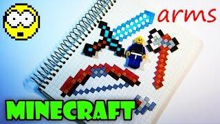 ПОПУЛЯРНОЕ ОРУЖИЕ ИЗ МАЙНКРАФТ / Рисуем по клеточкам меч / топор / лук из Minecraft | РИСУЕМ БЫСТРО