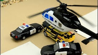 Police Chase. Police cars and Helicopter chase bandit Video for Kids