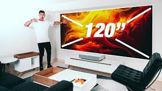 "The 120"" 4K PROJECTOR SETUP!!! - LG CineBeam"