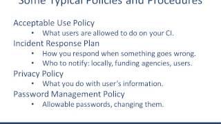 Cybersecurity Program intro: policies and procedures