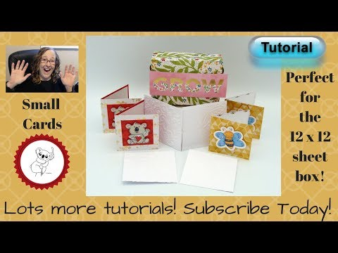 Cards to fit in the 12 x 12 no cut folded gift box TUTORIAL Small, cute, mini cards!