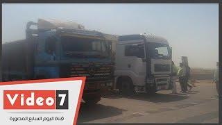 شاهد.. حركة سيارات النقل باﻹقليمى بعد منعها من الدائرى