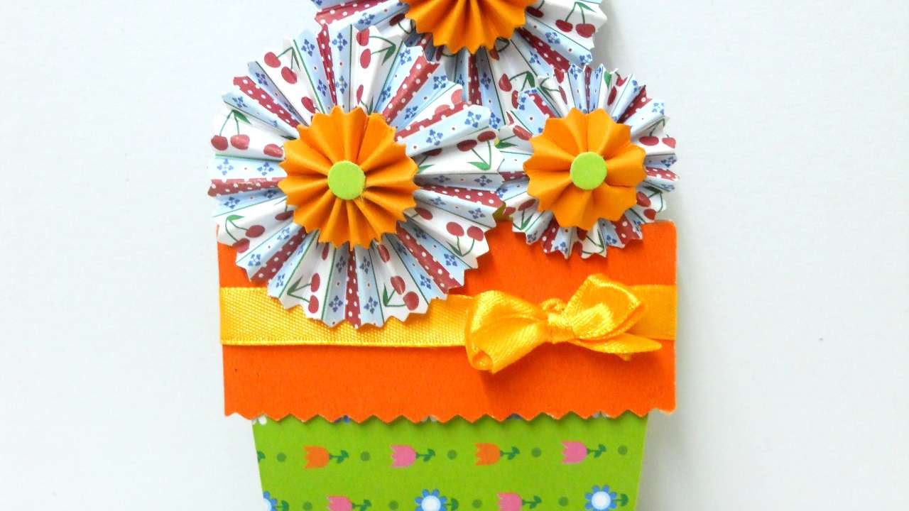 How To Make A Pretty Flower Pot Card Diy Crafts Tutorial