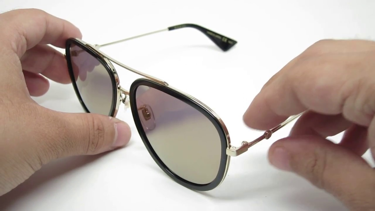 72c289fbdd8 Gucci GG0062S 001 Aviator Mirrored Sunglasses - YouTube