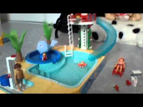 Playmobil piscine avec toboggan youtube for Piscine playmobil
